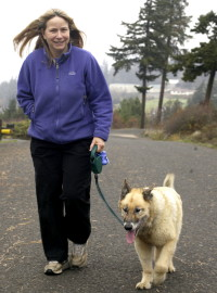 Dr. Anderson walking her dog.
